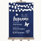 Navy Blue Watercolour Lights Important Special Dates Customised Wedding Sign