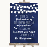 Navy Blue Watercolour Lights In Loving Memory Customised Wedding Sign