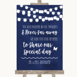 Navy Blue Watercolour Lights In Our Thoughts Customised Wedding Sign