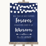 Navy Blue Watercolour Lights Informal No Seating Plan Customised Wedding Sign