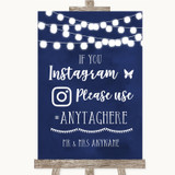 Navy Blue Watercolour Lights Instagram Hashtag Customised Wedding Sign