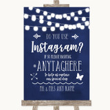Navy Blue Watercolour Lights Instagram Photo Sharing Customised Wedding Sign