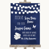 Navy Blue Watercolour Lights Jenga Guest Book Customised Wedding Sign