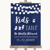 Navy Blue Watercolour Lights Kids Table Customised Wedding Sign