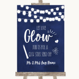 Navy Blue Watercolour Lights Let Love Glow Glowstick Customised Wedding Sign