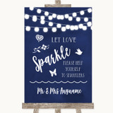 Navy Blue Watercolour Lights Let Love Sparkle Sparkler Send Off Wedding Sign