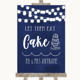 Navy Blue Watercolour Lights Let Them Eat Cake Customised Wedding Sign