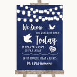 Navy Blue Watercolour Lights Loved Ones In Heaven Customised Wedding Sign