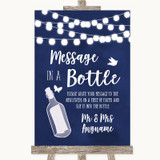 Navy Blue Watercolour Lights Message In A Bottle Customised Wedding Sign