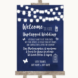 Navy Blue Watercolour Lights No Phone Camera Unplugged Customised Wedding Sign