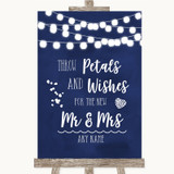 Navy Blue Watercolour Lights Petals Wishes Confetti Customised Wedding Sign
