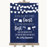 Navy Blue Watercolour Lights Photo Prop Guestbook Customised Wedding Sign