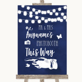 Navy Blue Watercolour Lights Photobooth This Way Left Customised Wedding Sign