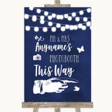 Navy Blue Watercolour Lights Photobooth This Way Right Customised Wedding Sign