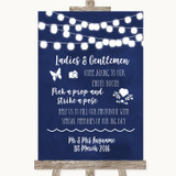 Navy Blue Watercolour Lights Pick A Prop Photobooth Customised Wedding Sign