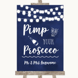 Navy Blue Watercolour Lights Pimp Your Prosecco Customised Wedding Sign