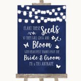 Navy Blue Watercolour Lights Plant Seeds Favours Customised Wedding Sign