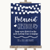 Navy Blue Watercolour Lights Polaroid Guestbook Customised Wedding Sign