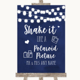 Navy Blue Watercolour Lights Polaroid Picture Customised Wedding Sign