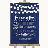Navy Blue Watercolour Lights Popcorn Bar Customised Wedding Sign