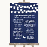 Navy Blue Watercolour Lights Romantic Vows Customised Wedding Sign
