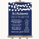 Navy Blue Watercolour Lights Rules Of The Dance Floor Customised Wedding Sign