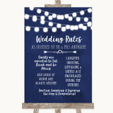 Navy Blue Watercolour Lights Rules Of The Wedding Customised Wedding Sign