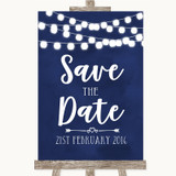 Navy Blue Watercolour Lights Save The Date Customised Wedding Sign