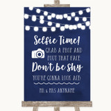 Navy Blue Watercolour Lights Selfie Photo Prop Customised Wedding Sign