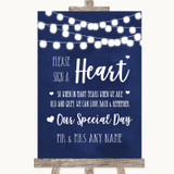 Navy Blue Watercolour Lights Sign a Heart Customised Wedding Sign