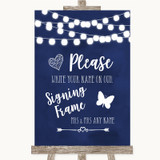 Navy Blue Watercolour Lights Signing Frame Guestbook Customised Wedding Sign