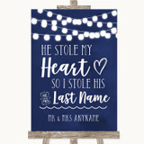 Navy Blue Watercolour Lights Stole Last Name Customised Wedding Sign