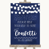 Navy Blue Watercolour Lights Take Some Confetti Customised Wedding Sign