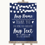 Navy Blue Watercolour Lights Thank You Bridesmaid Page Boy Best Man Wedding Sign