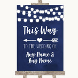 Navy Blue Watercolour Lights This Way Arrow Left Customised Wedding Sign