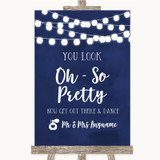 Navy Blue Watercolour Lights Toilet Get Out & Dance Customised Wedding Sign