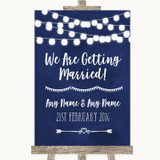 Navy Blue Watercolour Lights We Are Getting Married Customised Wedding Sign