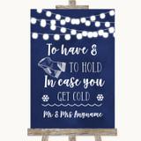 Navy Blue Watercolour Lights Wedding Blanket Scarf Customised Wedding Sign