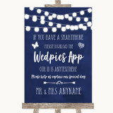 Navy Blue Watercolour Lights Wedpics App Photos Customised Wedding Sign