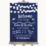 Navy Blue Watercolour Lights Welcome Order Of The Day Customised Wedding Sign