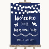 Navy Blue Watercolour Lights Welcome To Our Engagement Party Wedding Sign