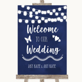 Navy Blue Watercolour Lights Welcome To Our Wedding Customised Wedding Sign