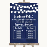 Navy Blue Watercolour Lights Who's Who Leading Roles Customised Wedding Sign