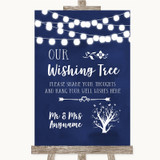 Navy Blue Watercolour Lights Wishing Tree Customised Wedding Sign