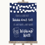 Navy Blue Watercolour Lights Wishing Well Message Customised Wedding Sign