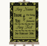 Olive Green Damask Thank You Bridesmaid Page Boy Best Man Wedding Sign