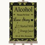 Olive Green Damask Alcohol Bar Love Story Customised Wedding Sign