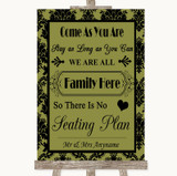 Olive Green Damask All Family No Seating Plan Customised Wedding Sign