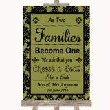 Olive Green Damask As Families Become One Seating Plan Customised Wedding Sign