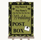 Olive Green Damask Card Post Box Customised Wedding Sign